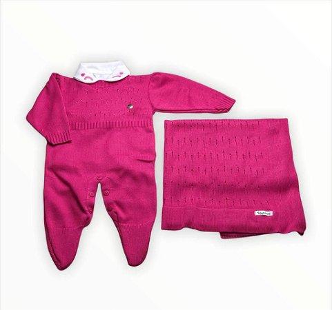 Saída de Maternidade em Tricot 3 Pecas Pink