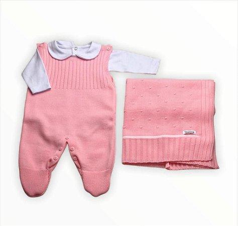 Saída de Maternidade em Tricot 3 Peças Rosa
