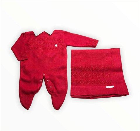 Saída de Maternidade em Tricot 3 Peças Vermelho