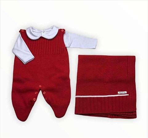 Saída de Maternidade em Tricot 3 Peças Vermelha