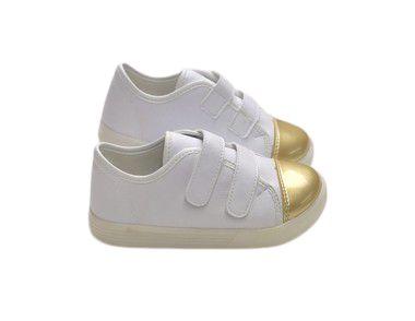 Tênis Com Velcro e Detalhe Dourado Feminino