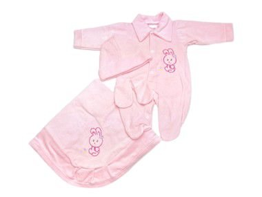 Saída de Maternidade Plush Rosa Bebê Ma - 4 peças