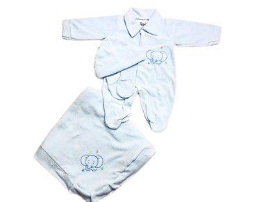 Saída de Maternidade Plush Azul Bebê Mo - 4 peças