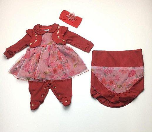 Saída de Maternidade Plush Laço Ma - 3 Peças