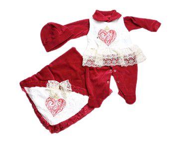 Saída de Maternidade Plush de Coração c/ Renda Ma - 3 Peças