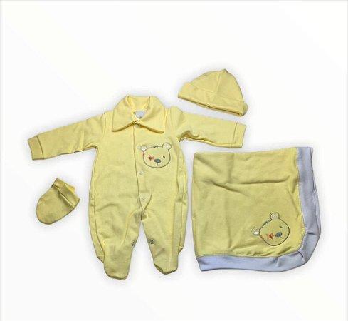 Saída de Maternidade Suedine Amarela Ma -  4 peças