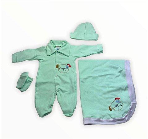 Saída de Maternidade Suedine Verde Unissex - 4 peças