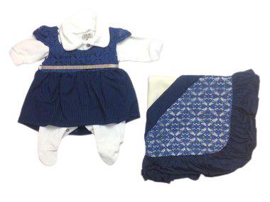 Saída de Maternidade Plush com Renda Marinho Ma - 4 Peças