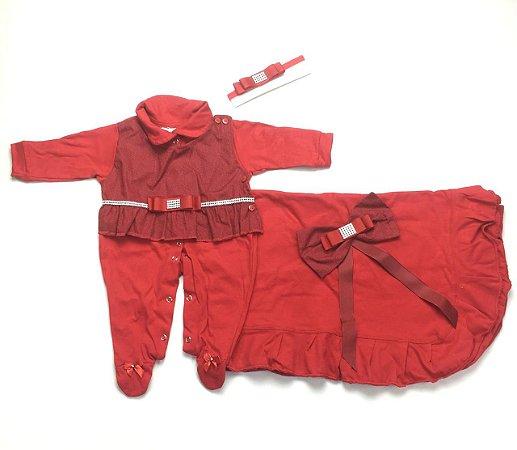 Saída de Maternidade Malha Vermelha Ma - 3 Peças