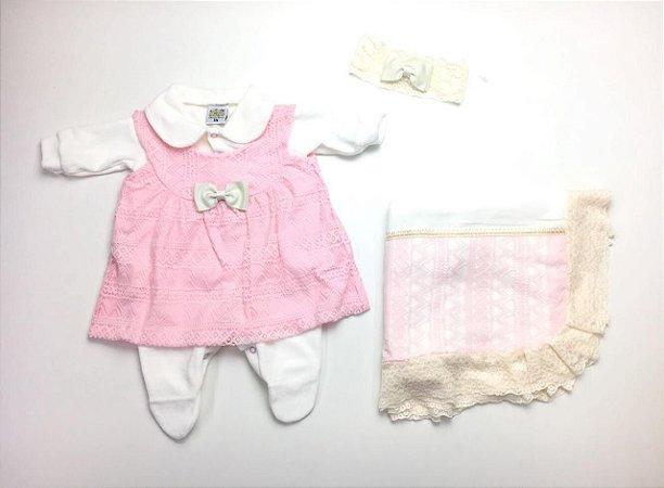 Saída de Maternidade Plush com Renda Rosa Ma - 4 Peças