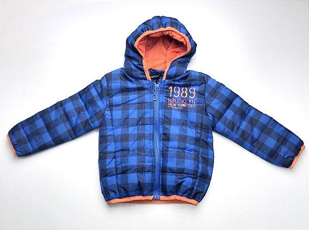 Jaqueta Quadriculada Azul Com Capuz Infantil 1-3
