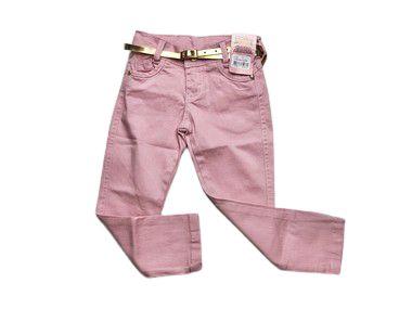 Calça Jeans Rosa Com Cinto Dourado 1/3