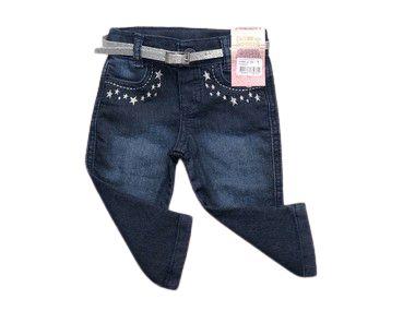 Calça Jeans Com Detalhes De Estrelinhas e Cinto Tam M