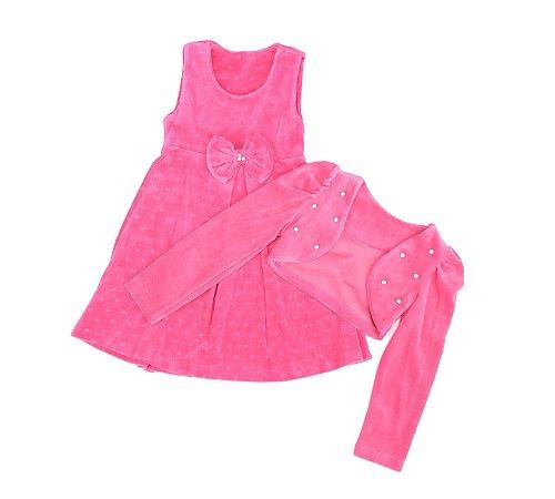 Vestido Pink com Casaquinho Plush 1/3