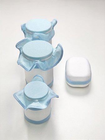 Kit Potes Higiene Com Babado - 4 Peças