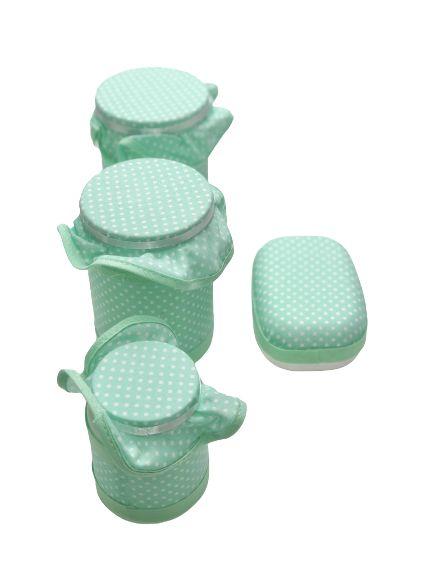Kit Potes Higiene Com Babado E Bolinhas - 4 Peças