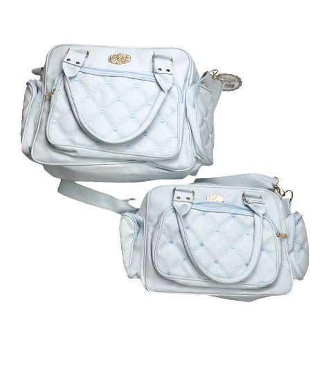 Kit Bolsas 3 Peças Azul Bebê Quadriculada