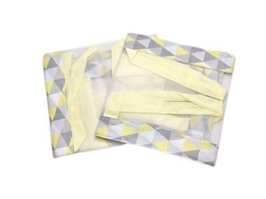 Tela de Berço Respirável Losângulo Amarelo e Cinza