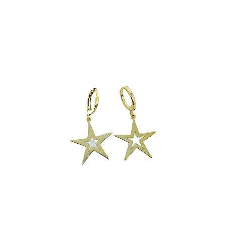 """Brinco argolinha pingente """"estrela"""" folheado dourado"""