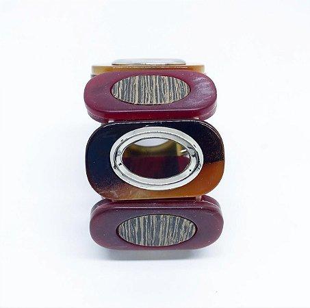 Bracelete de elástico acrílico com efeito madeira