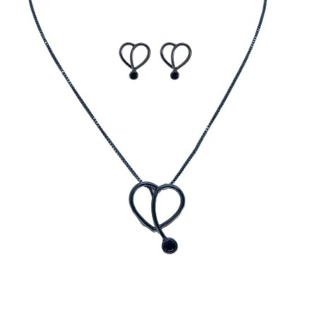 Conjunto brinco e colar coração ponto zircônia Manôa Black