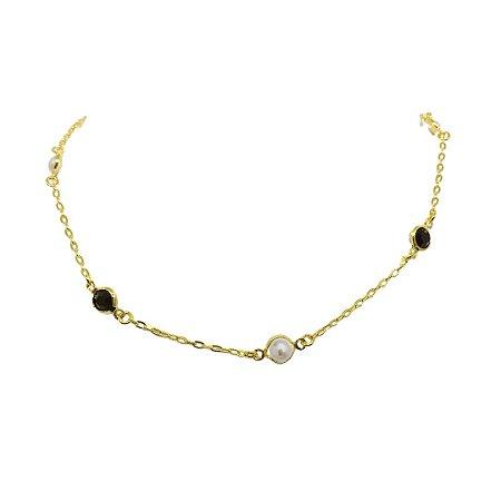Colar chocker cristal preto com pérola folheado dourado