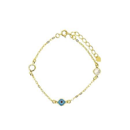 Pulseira olho grego e cristais folheada dourada