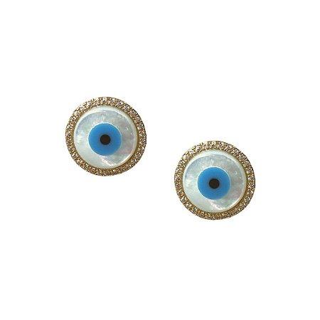 Brinco olho grego com zircônia