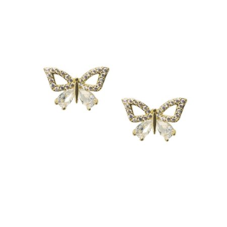 Brinco pequeno borboleta com zircônia