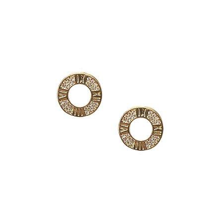 Brinco números romanos com zircônia