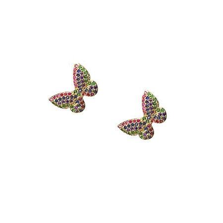 Brinco borboleta de zircônia colorida
