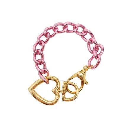 Pulseira elos Pink Chain com fecho de coração folheada
