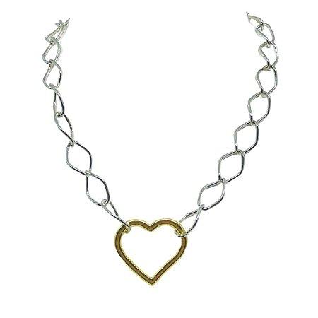 Colar elos finos prata e pingente coração dourado folheado