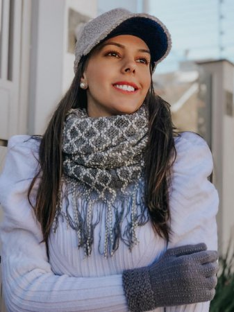 Gola franjas mesclada tricot