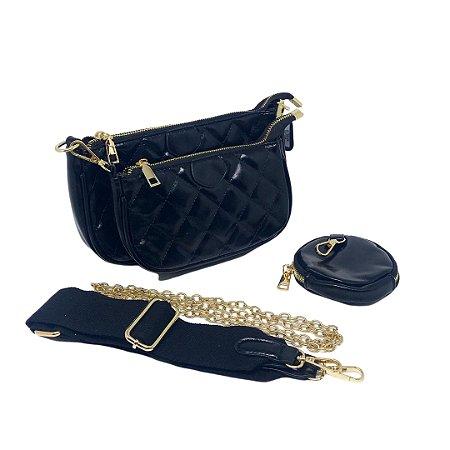 Bolsa em Matelassê com 2 alças e com bolsa extra e niqueleira Manôa Black