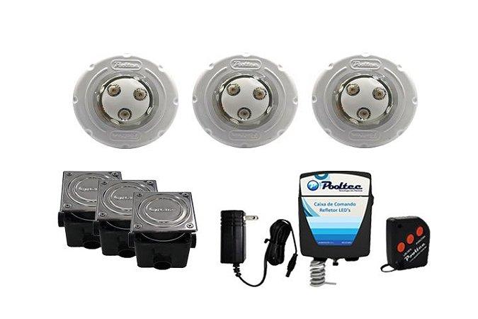 Kit de Iluminação Pooltec Para Piscinas de vinil Até 48 Mts² - SUPER LED 3 ABS VINIL