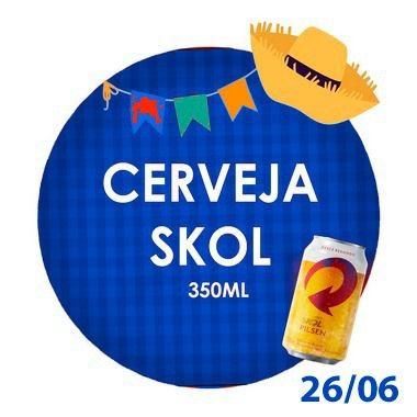 CERVEJA SKOL (350ml)- RETIRADA SOMENTE NO DIA DA FESTA COM HORÁRIO PREVIAMENTE AGENDADO-26 de junho
