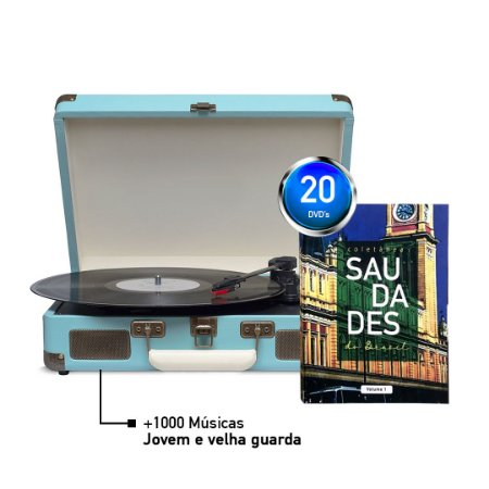 KIT Saudades do Brasil + Maleta Toca Disco + 1000 Músicas - AZUL