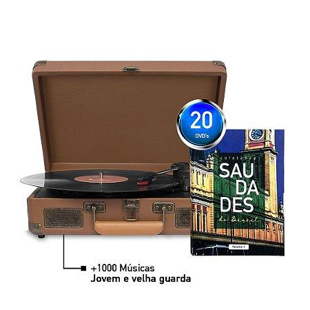 KIT Saudades do Brasil + Maleta Toca Disco + 1000 Músicas - MARRON