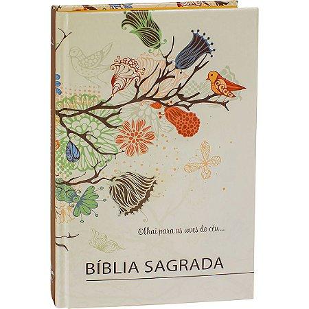 BÍBLIA SAGRADA RC MÉDIA CAPA DURA PÁSSARO E FLORES