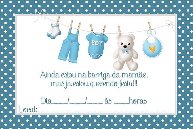 Kit 12 Convites Chá de Bebê / 12 Lembrancinhas carrinho
