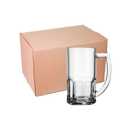 Caixa Caneca Chopp de Vidro 400 ml Transparente para Sublimação