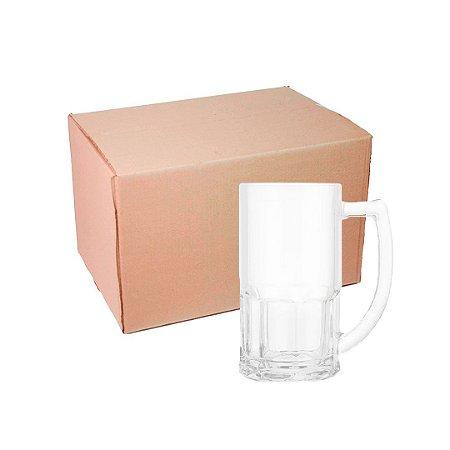 Caixa Caneca Chopp de Vidro 400 ml Branca para Sublimação