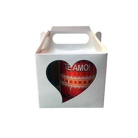 Caixinha de Caneca com Coração Vazado Branca para Sublimação