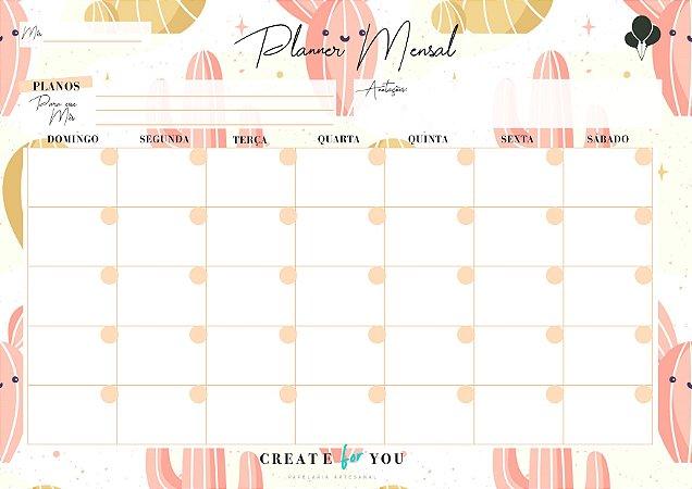 Planner Mensal - Cacto Feliz