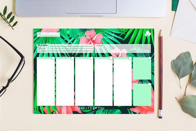 Planner Semanal - Floral Verde Rosa