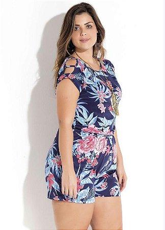 Macaquinho Floral com Tiras Plus Size