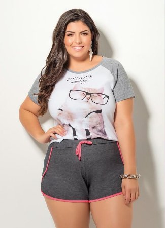 T-Shirt Cat Branco e Mescla Plus Size