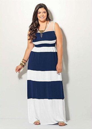 Vestido Longo Listrado Azul e Branco