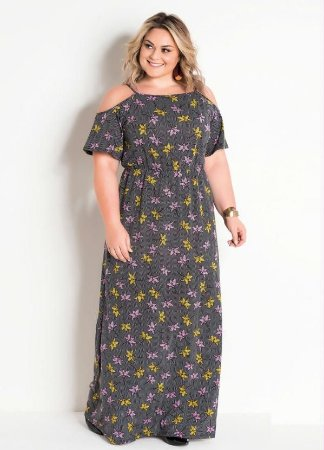 Vestido Longo Plus Size Chevron e Floral